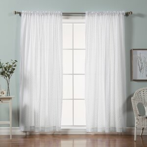 Mini Nature/Floral Semi-Sheer rod Pocket Curtain Panels (Set of 2)