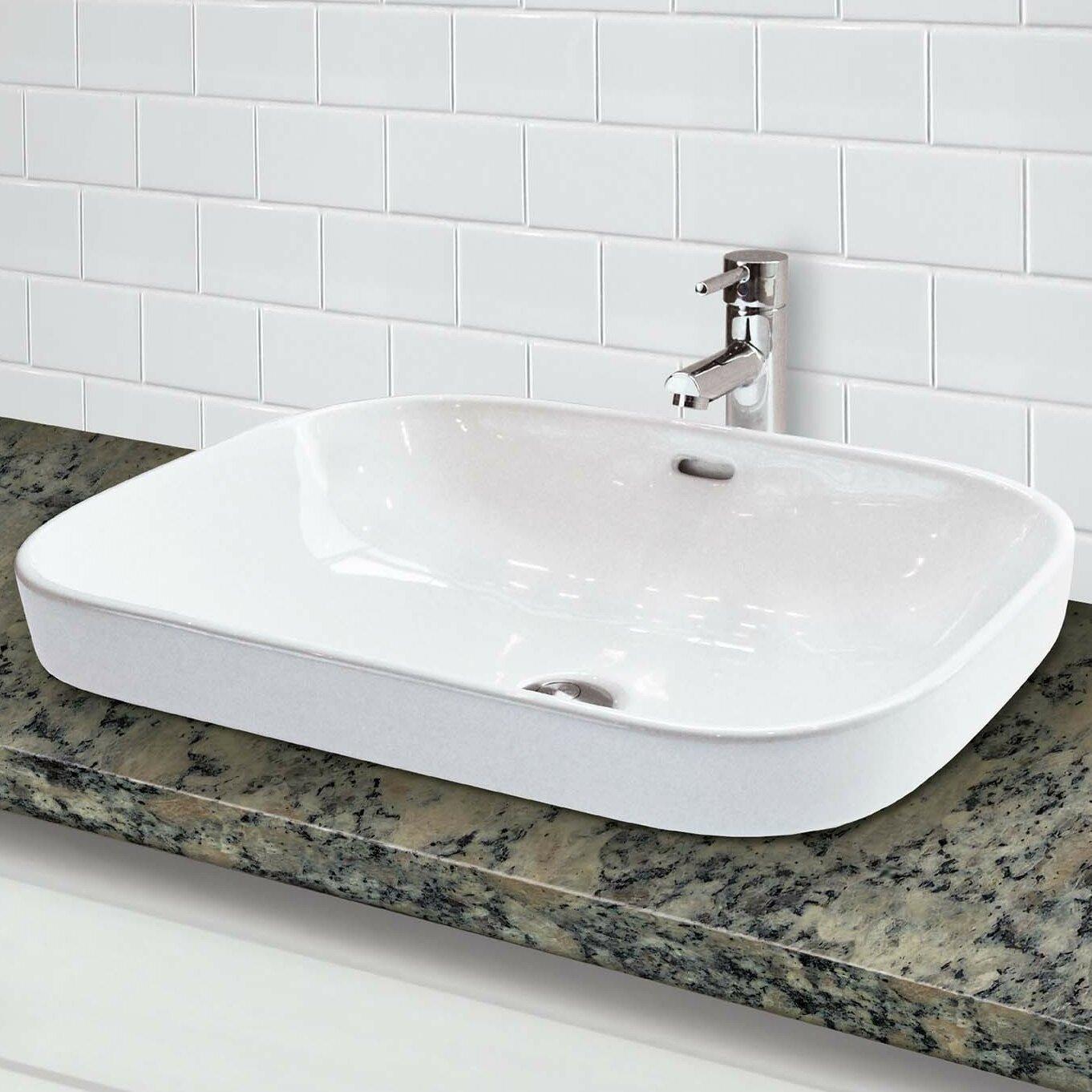 Decolav classically redefined semi recessed lavatory - Rectangular sinks bathroom vessel ...