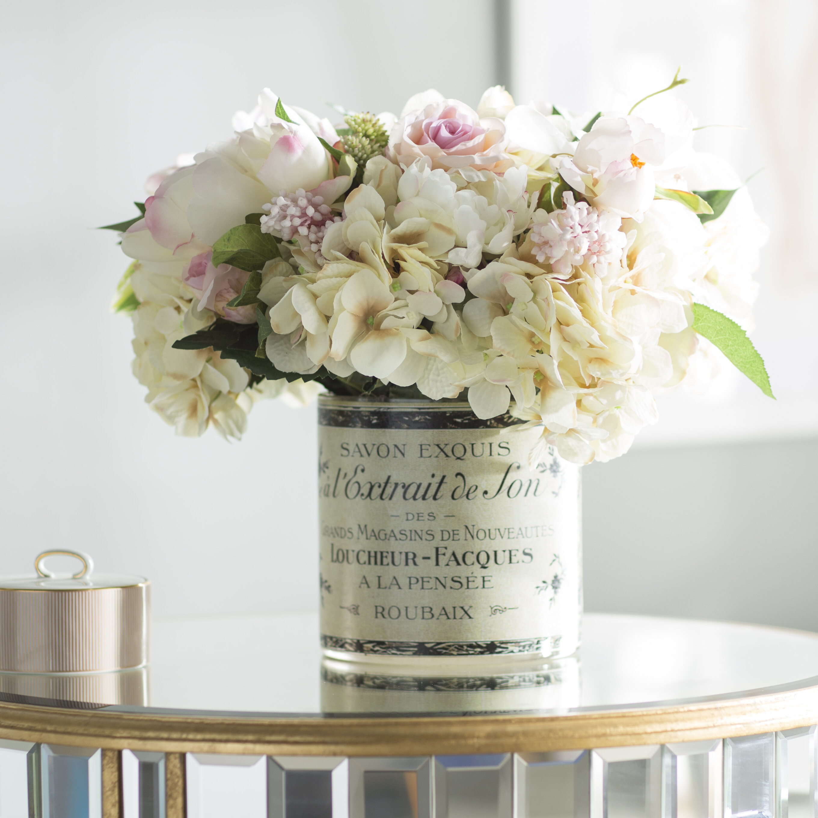 0a65e3abf Willa Arlo Interiors Mixed Peony and Hydrangea Centerpiece in French Label  Pot   Reviews