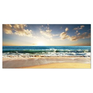 Cloudy Sky and Vibrant Blue Sea Seashore Photographic Print on Wrapped Canvas