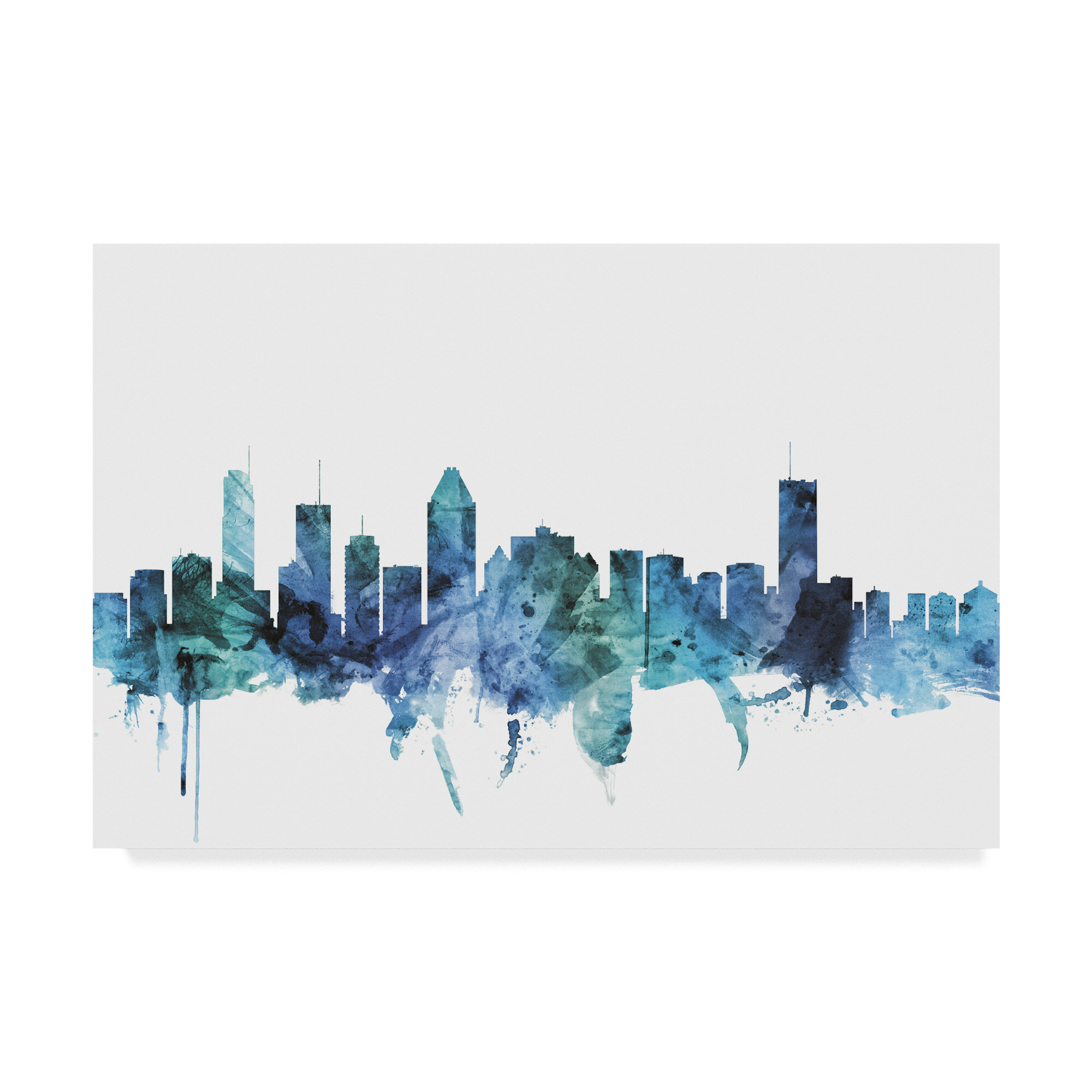 Wrought Studio Montreal Canada Blue Teal Skyline Graphic