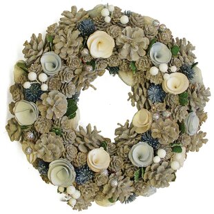 13 pinecone with flowers christmas wreath - Blue Christmas Wreath