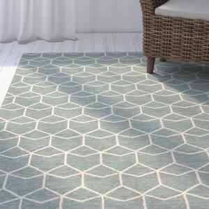 Wells Blue/Ivory Geometric Indoor/Outdoor Area Rug