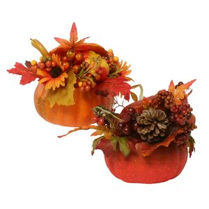 Decorative Pumpkin Arrangements with Faux Berries, Leaves, Gourds, Acorns, and Sunflowers (Set of 2)