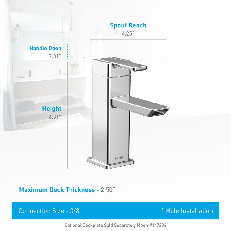 Moen 90 Degree Single Hole Low Arc Bathroom Faucet with Drain ...