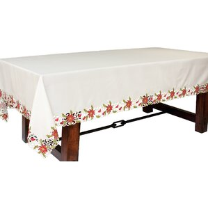 Exceptional Poinsettia Lace Embroidered Cutwork Tablecloth