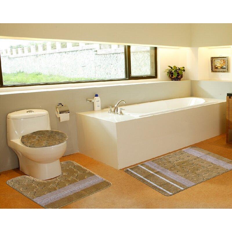 3 Piece Bath Mat Set