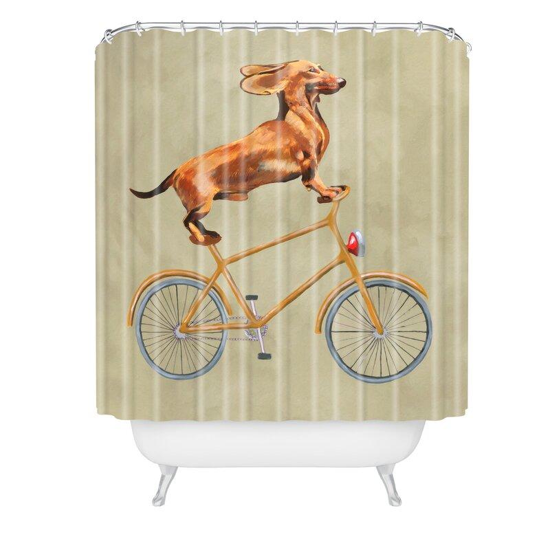 Coco De Paris Daschund On Bicycle Shower Curtain