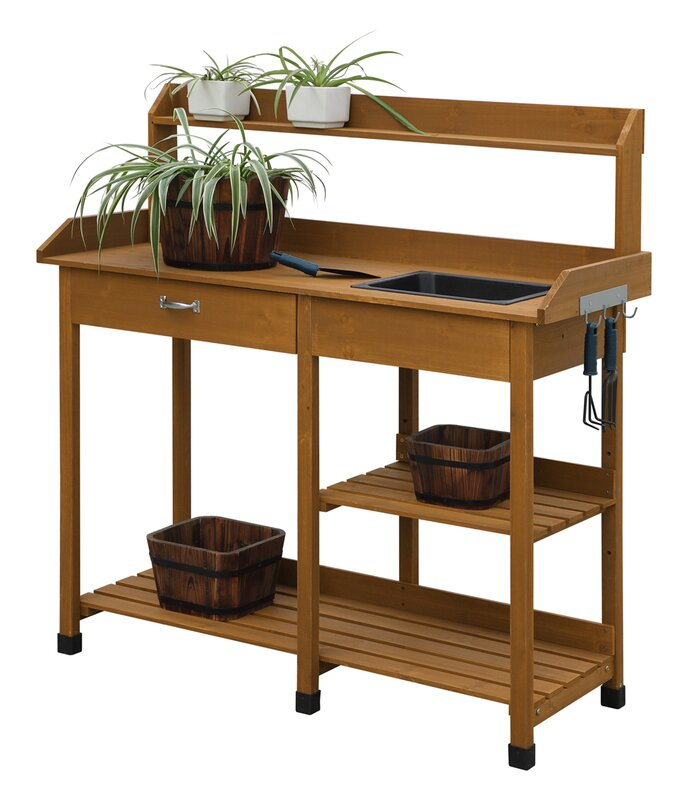 15 Most Outrageous Outdoor Kitchen Sink Station Ideas: Loon Peak Jackson Potting Bench & Reviews