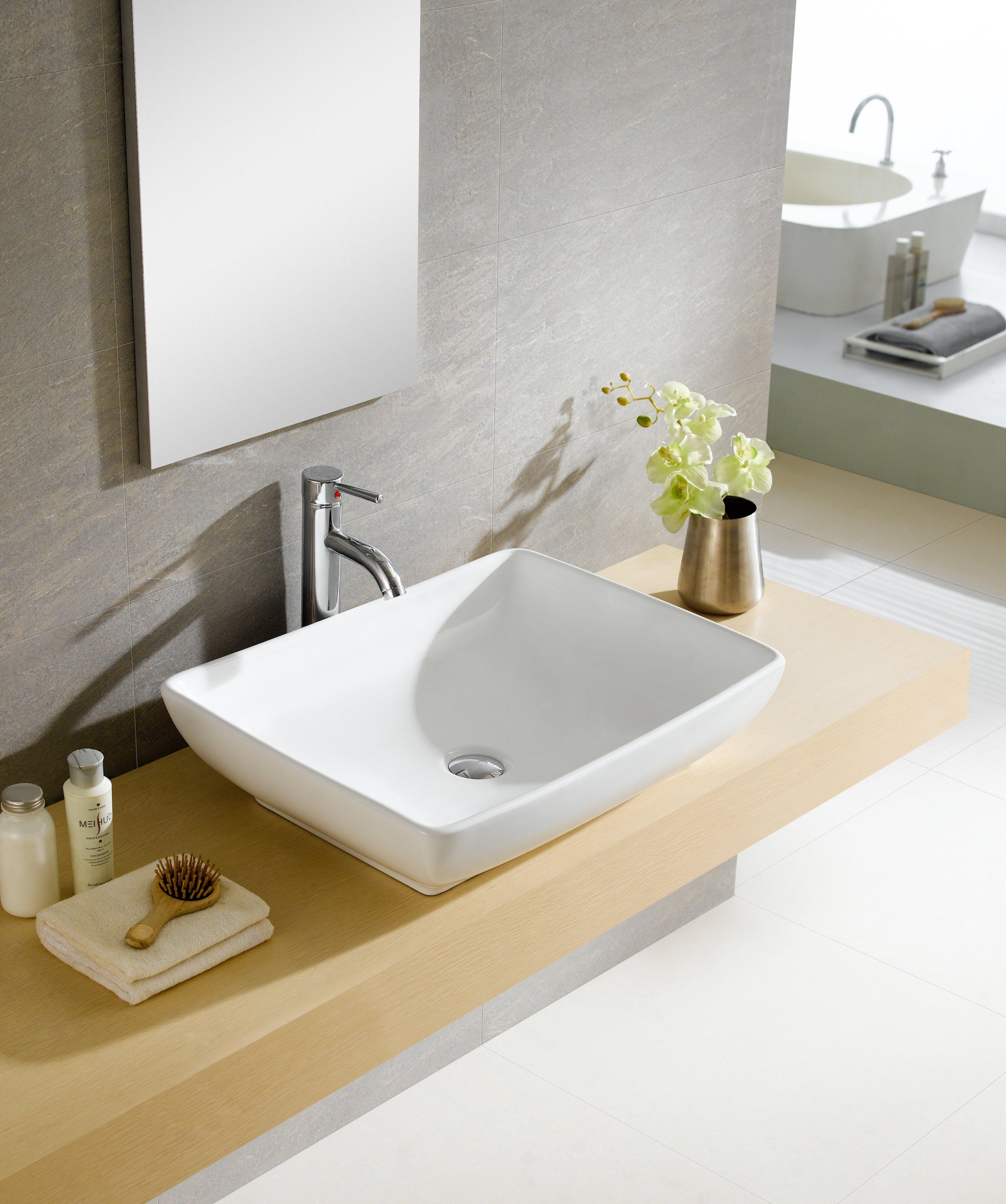 Fine Fixtures Modern Ceramic Rectangular Vessel Bathroom ...