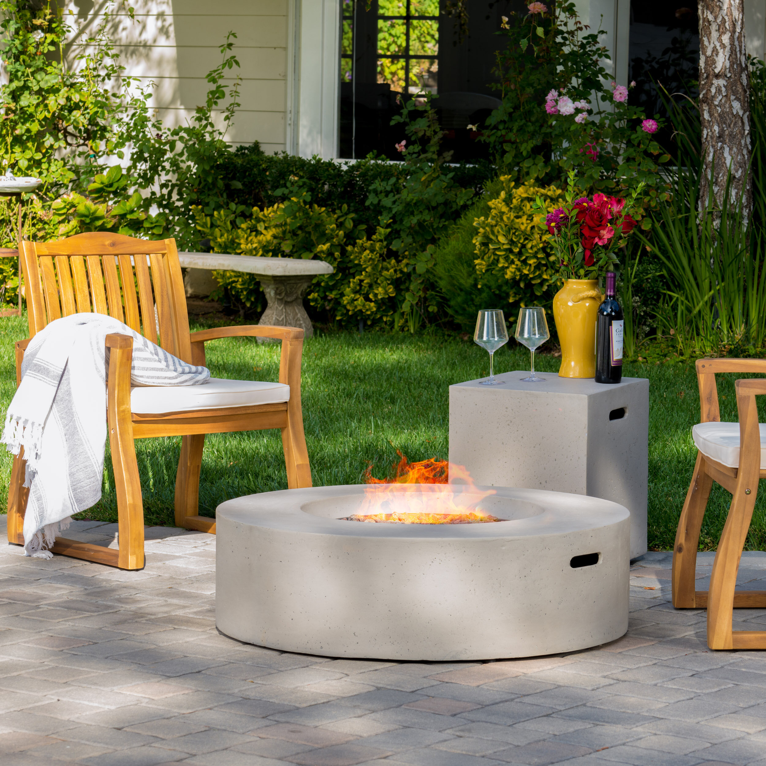 Wade Logan Olivet Propane Fire Pit Table & Reviews