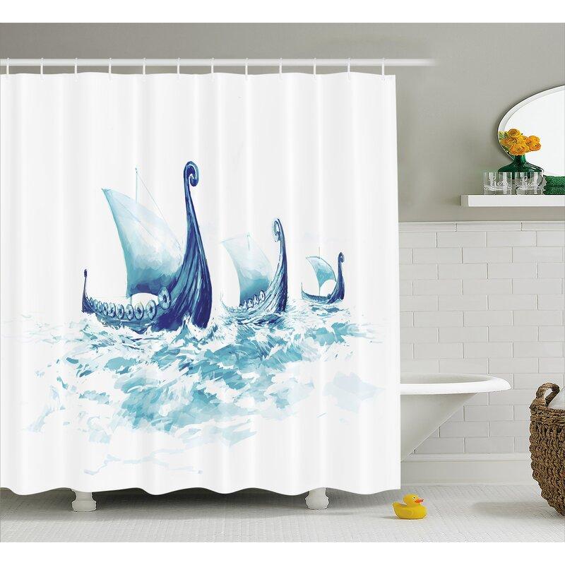 Viking Decor Ship Nordic Sea Shower Curtain