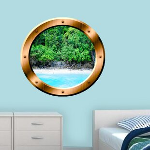 Island Trees Porthole Beach Scene Wall Decal