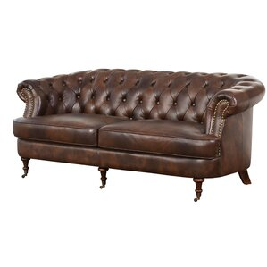 Three Posts Mccarville Tufted Top Grain Leather Chesterfield Sofa