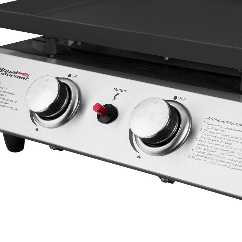 Portable Propane Griddle Grill With Double Burner Stove
