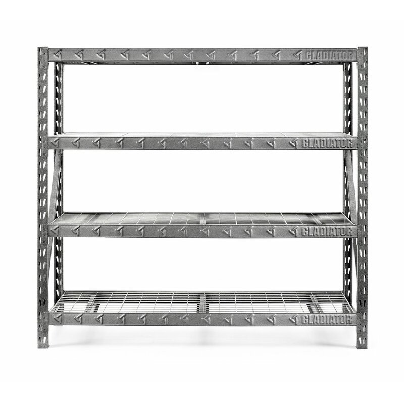 gladiator 77 wide heavy duty rack with four 24 deep shelves rh wayfair com 24 deep shelving brackets 24 deep shelving units