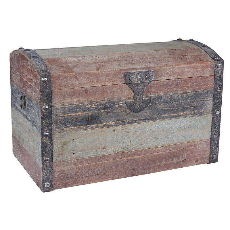 Household Essentials Large Weathered Wooden Storage Trunk Reviews Wayfair