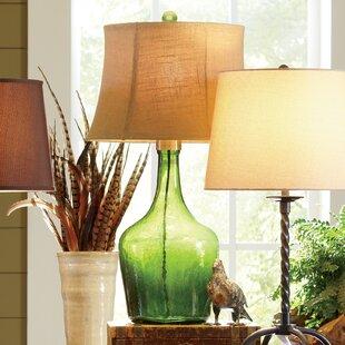 Green sea glass lamp wayfair lawrence glass table lamp aloadofball Image collections