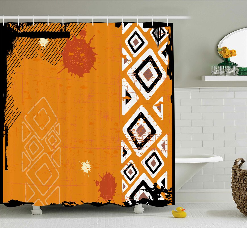 Muriel Tribal Ethnic African Design With Bold Lines Geometric Triangles Artwork Image Shower Curtain