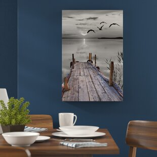 Lovely Jetty With Birds Wall Art On Canvas
