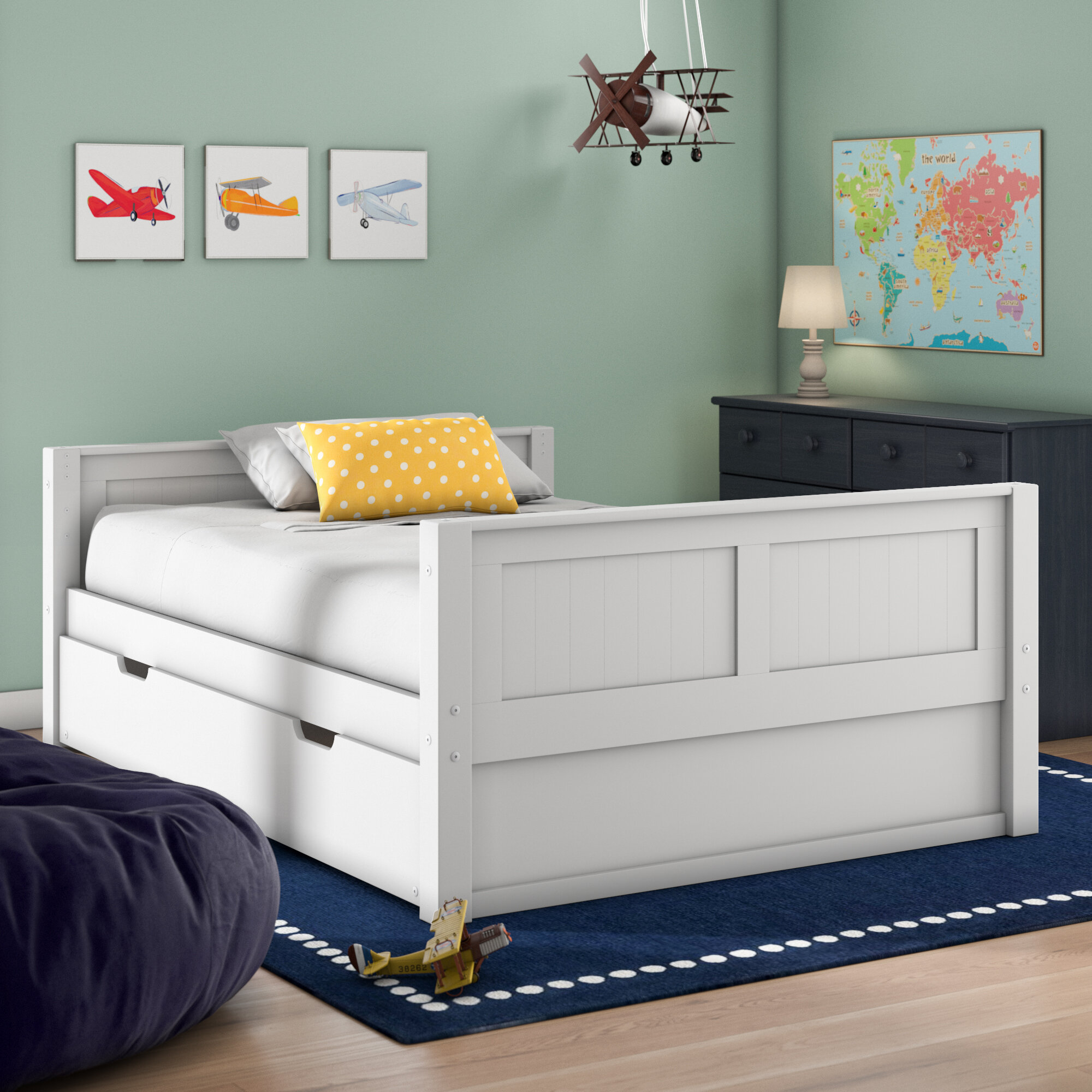 Panel Bed With Trundle And Drawers