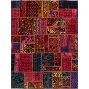 Sela Vintage Persian Hand Woven Dyed Wool Red/Purple Geometric Area Rug