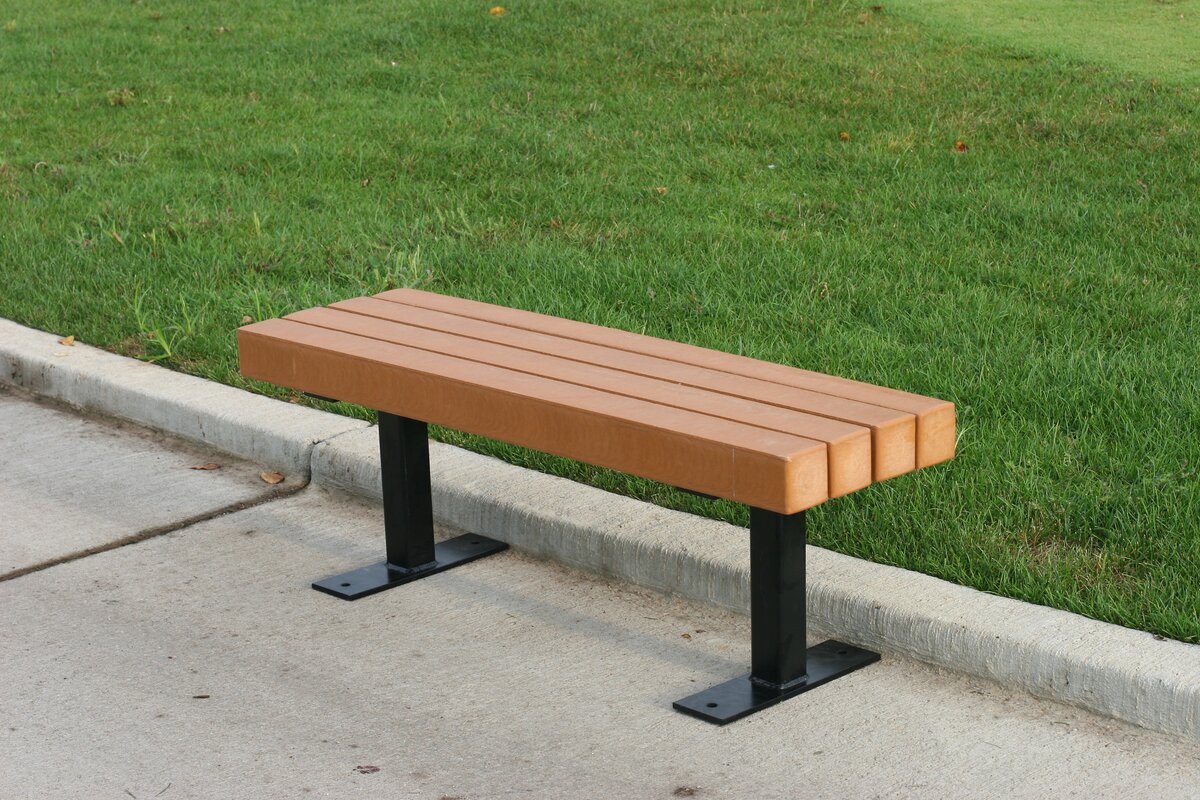 Frog furnishings trailside recycled plastic park bench for Cedar park furniture