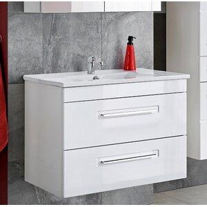 Belfry Bathroom 56 cm Wandmontierter Waschtisch Active mit Spiegel, Armatur und Schränken