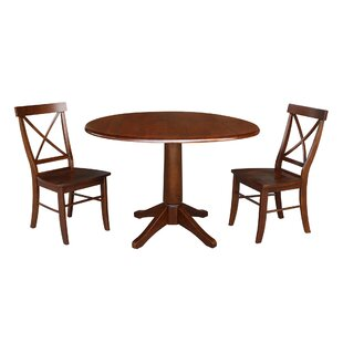 Atoll Round Top 3 Piece Drop Leaf Solid Wood Dining Set