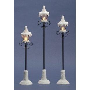3 Piece LED Lamp Post Figurine Set