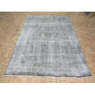 One Of A Kind Britni Overdyed Persian Tabriz Hand Knotted 9 5 X 13 Wool Gray Area Rug