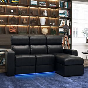 Modern Leather Home Theater Sofa (Row of 3) (Set of 3) by Red Barrel Studio