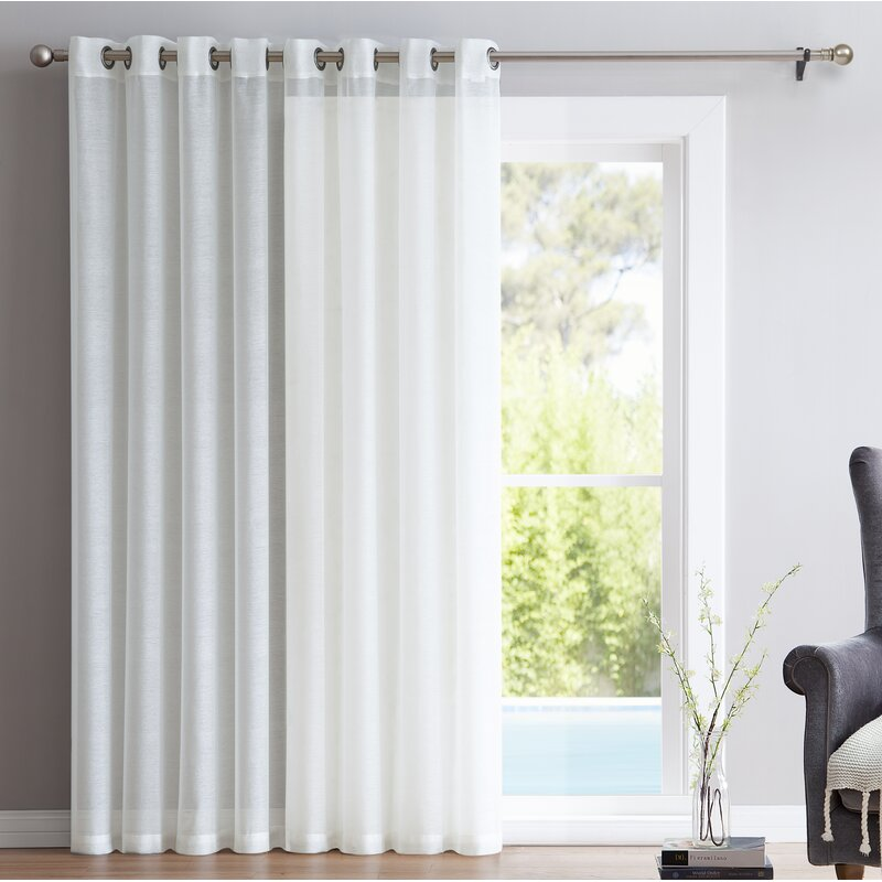 Winston Porter Pamperin Patio Door Solid Sheer Grommet Single