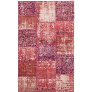 Lecia Hand-Knotted Dark Burgundy/Pink Area Rug