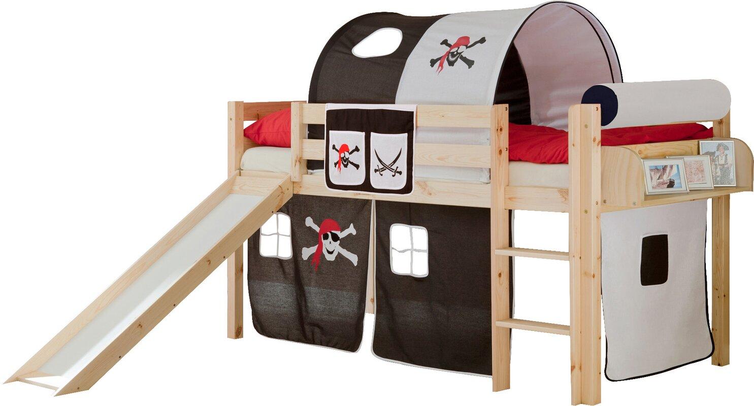 ticaa halbhochbett mit rutsche matratze und textilien 90. Black Bedroom Furniture Sets. Home Design Ideas