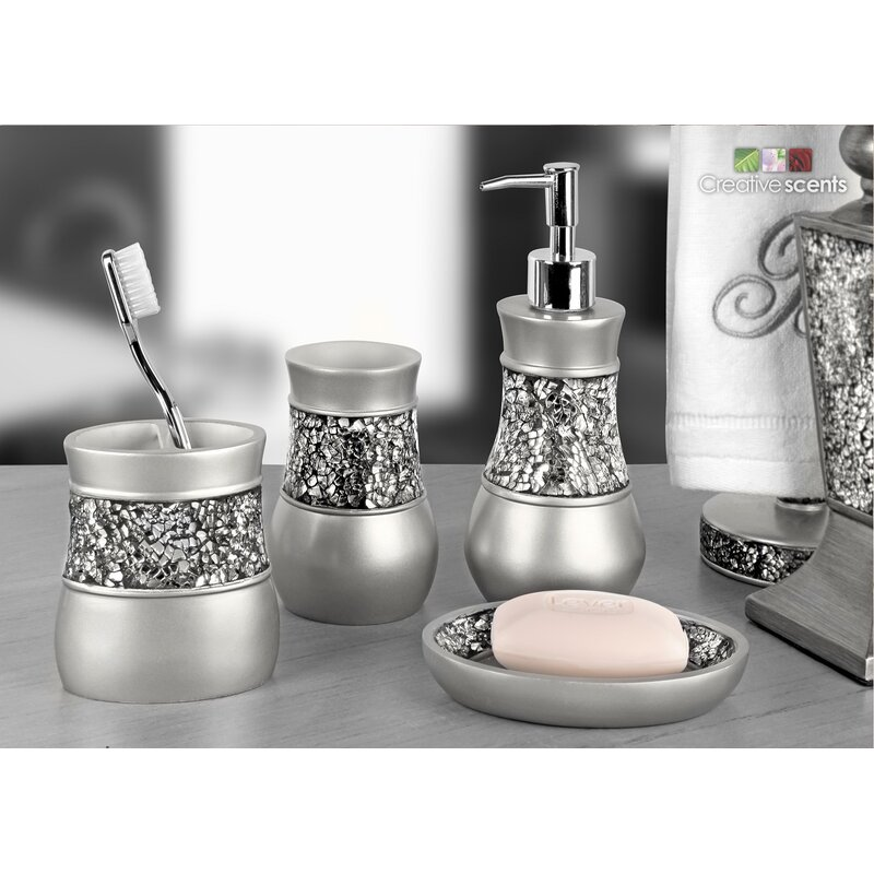 Rabin Brushed Nickel 4 Piece Bathroom Accessory Set
