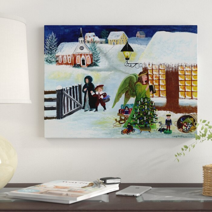 \u0027Christmas Angel\u0027 Acrylic Painting Print on Wrapped Canvas