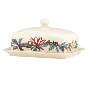 Winter Greetings Covered Butter Dish