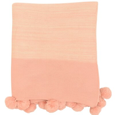 Brayden Studio Krista Pompom Cotton Throw Color: Rose Quartz