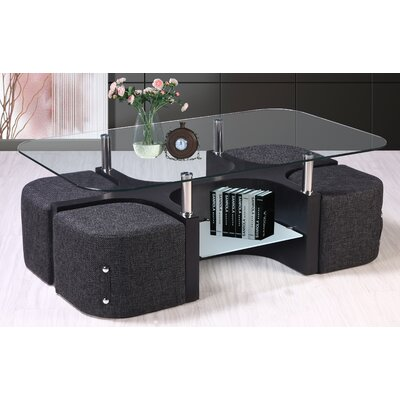 Best Quality Furniture Coffee Table With 4 Nested Stools U0026 Reviews | Wayfair