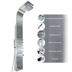 65″ Tower Rainfall Shower Panel System Diverter/Thermostatic – Includes Rough-In Valve