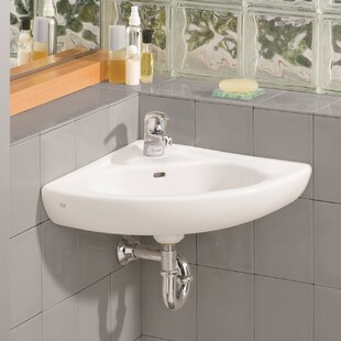 Vitreous China 23 Corner Bathroom Sink With Overflow