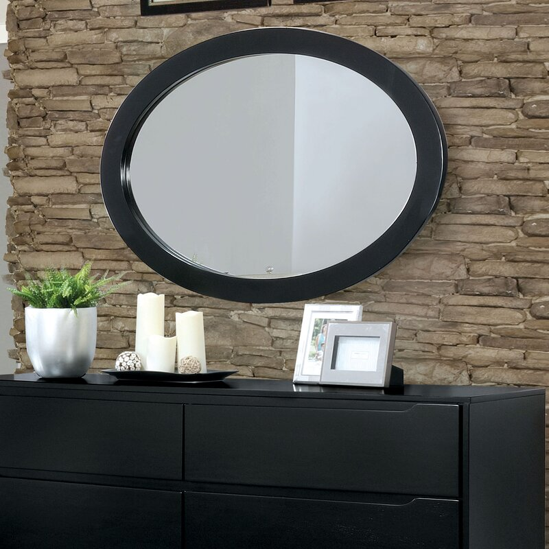 Polick Mid-Century Modern Oval Accent Wall Mirror