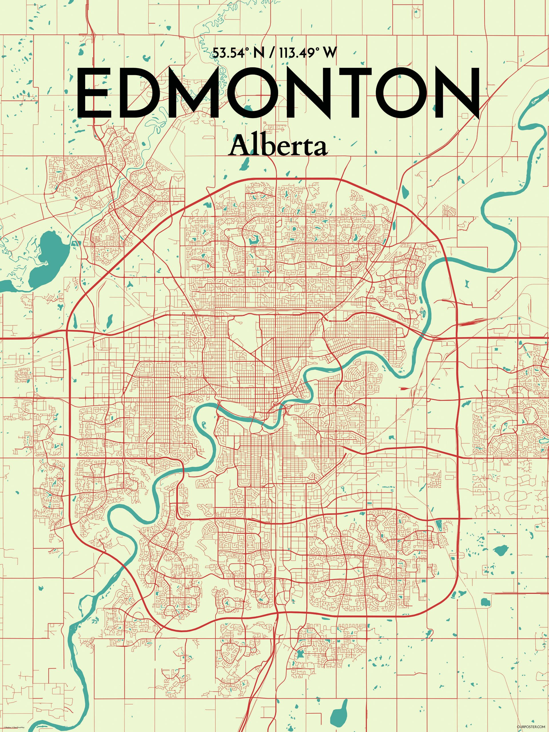 OurPoster.com 'Edmonton City Map' Graphic Art Print Poster in ... on