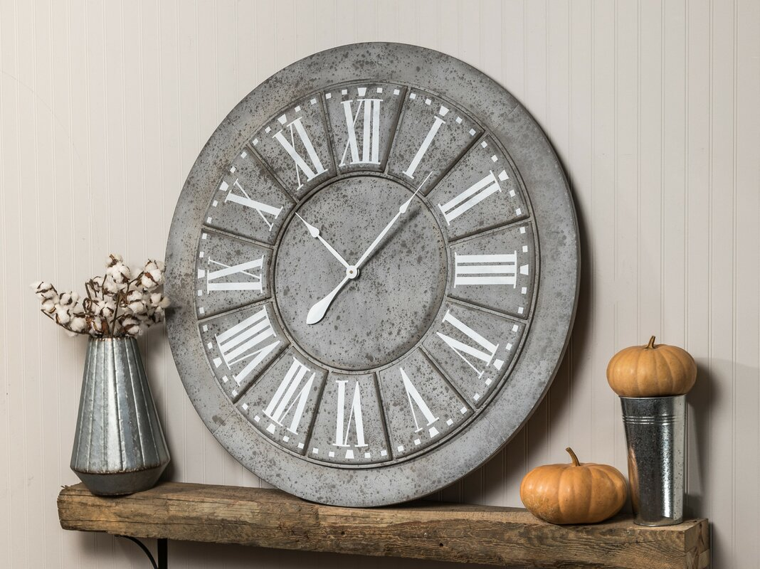 Oversized 39 5 Quot Galvanized Wall Clock Amp Reviews Joss Amp Main