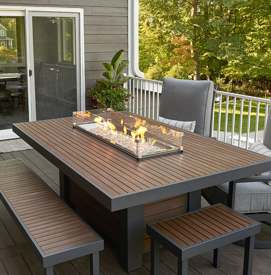 The outdoor greatroom company kenwood linear dining height aluminum propane natural gas fire pit table wayfair