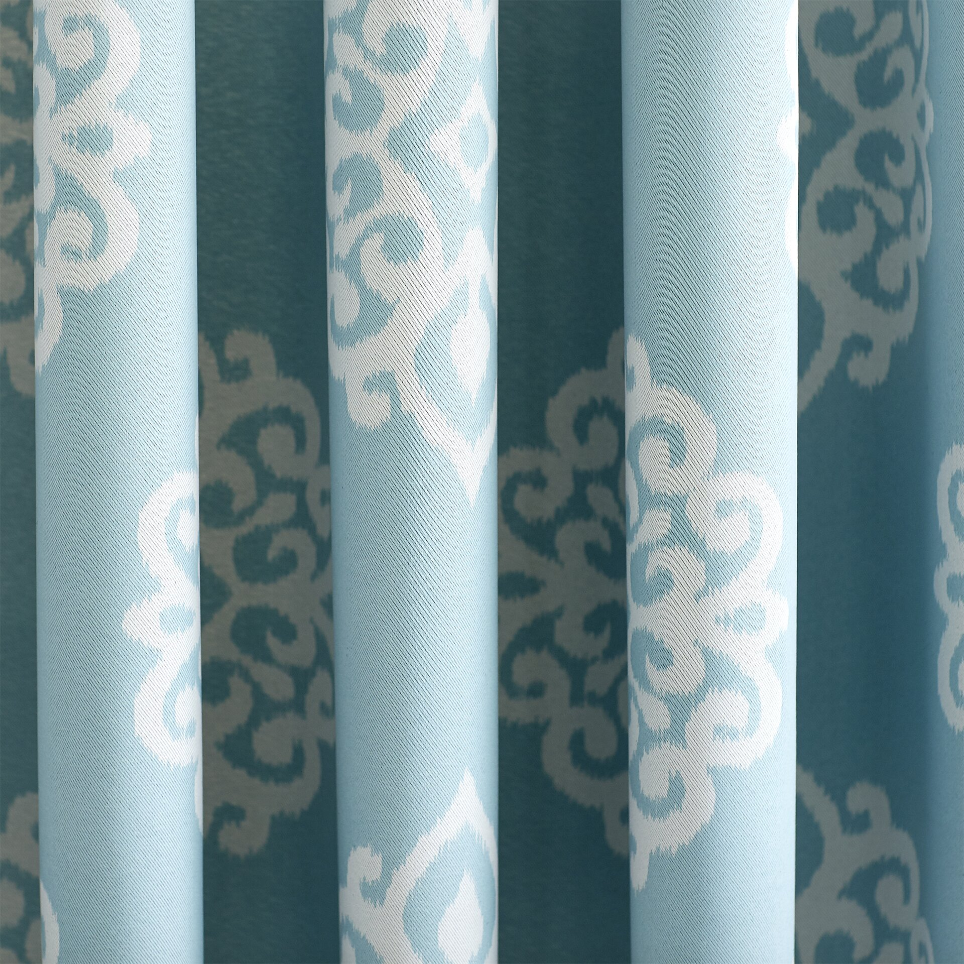 Aqua Curtain Panels - Oliver damask blackout thermal rod pocket curtain panels