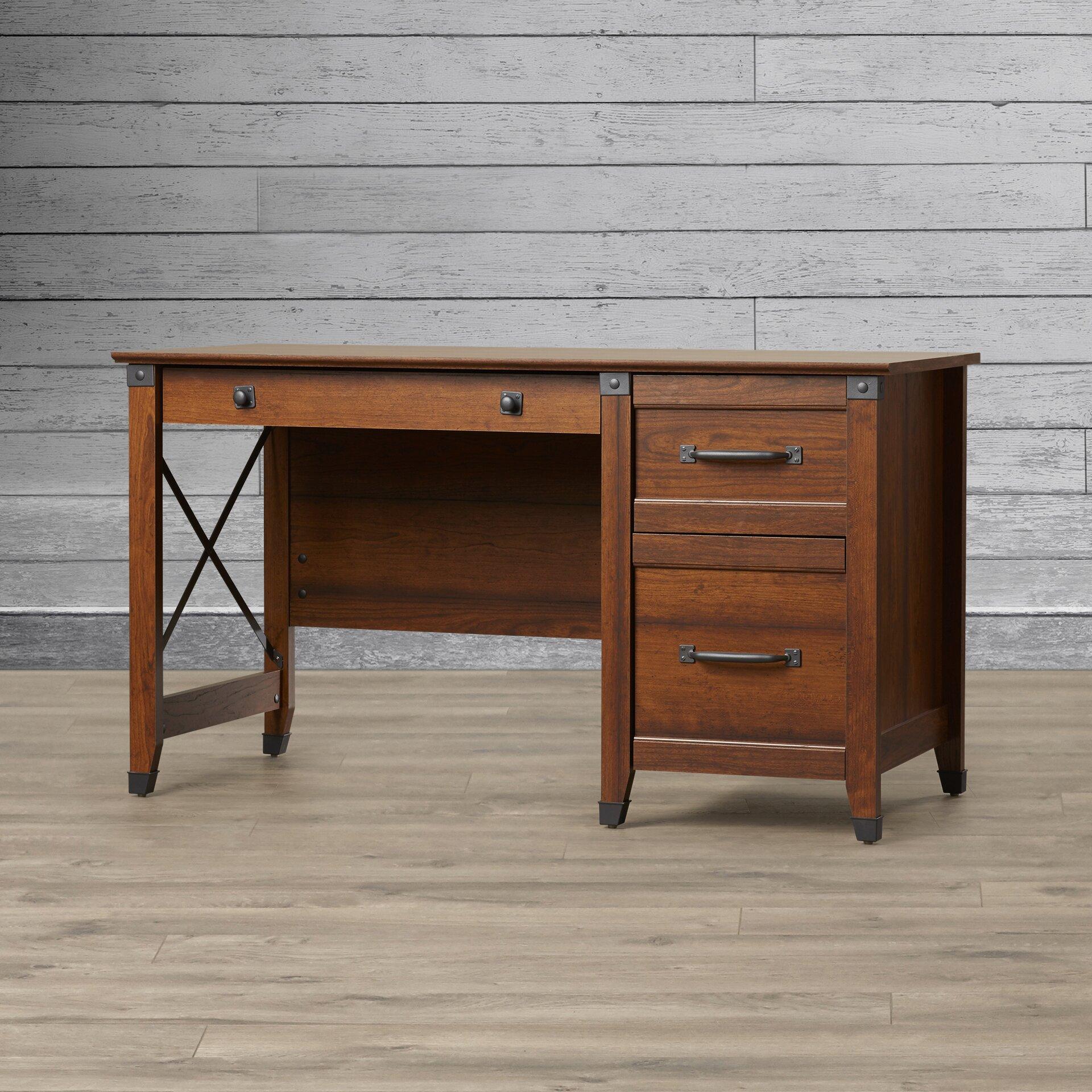 loon peak newdale computer desk with 3 storage drawers. Black Bedroom Furniture Sets. Home Design Ideas