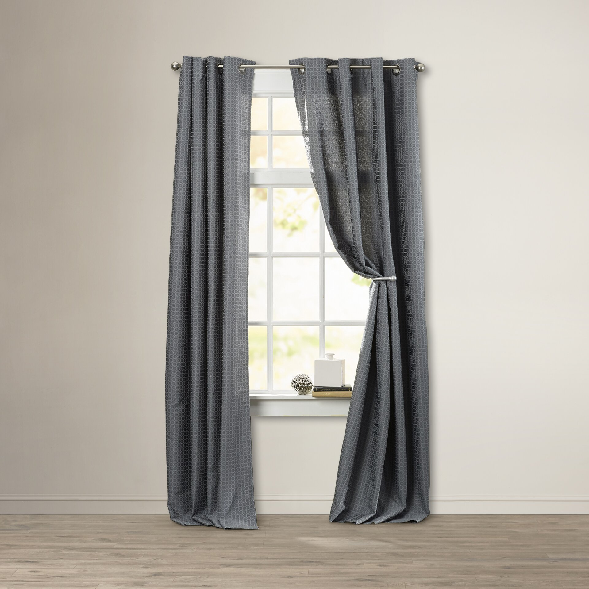 Threshold linen grommet sheer curtain panel product details page - Arrant Solid Semi Sheer Grommet Single Curtain Panel