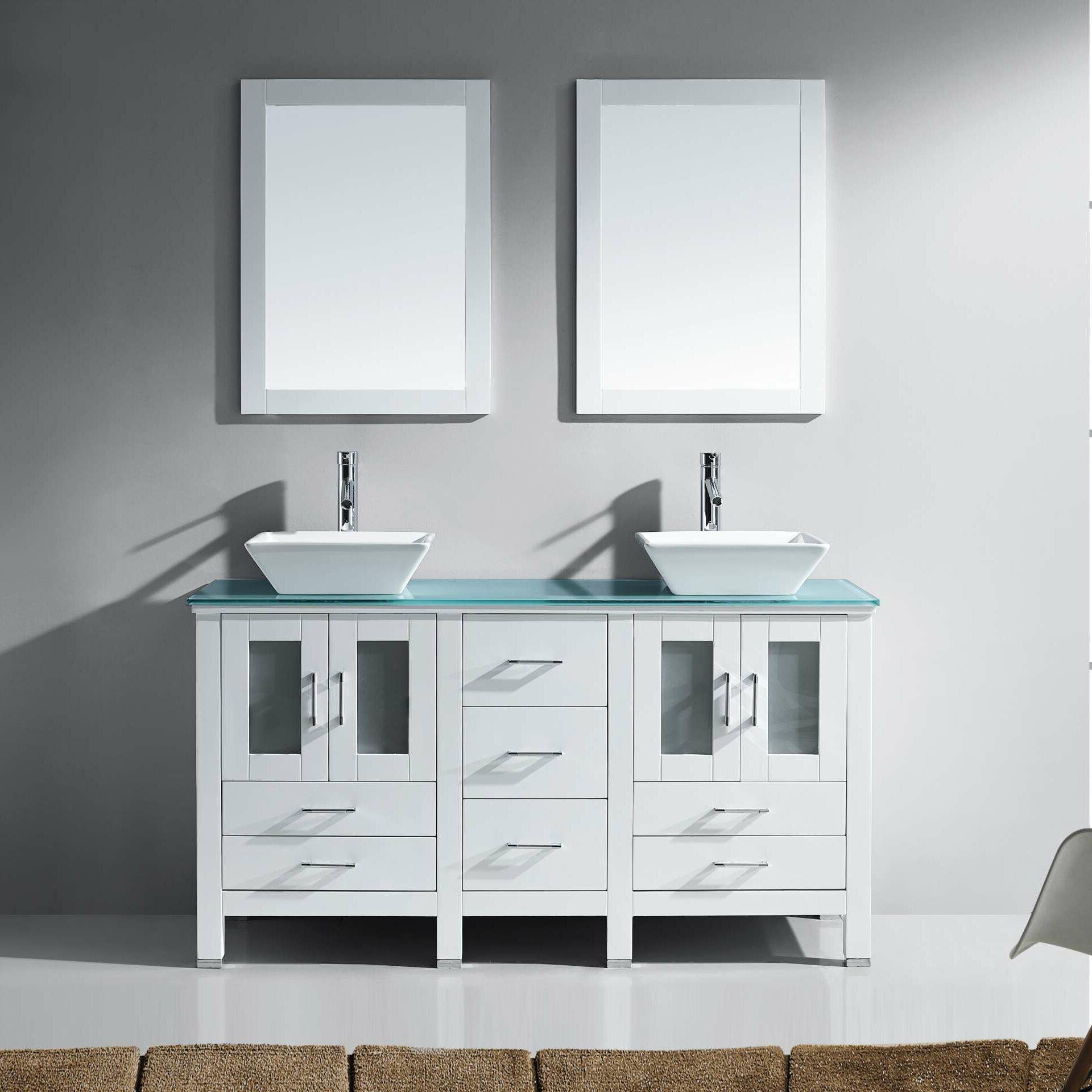 Virtu bathroom accessories - Brentford Series 60 Double Bathroom Vanity Set With Tempered Glass Top And Mirror